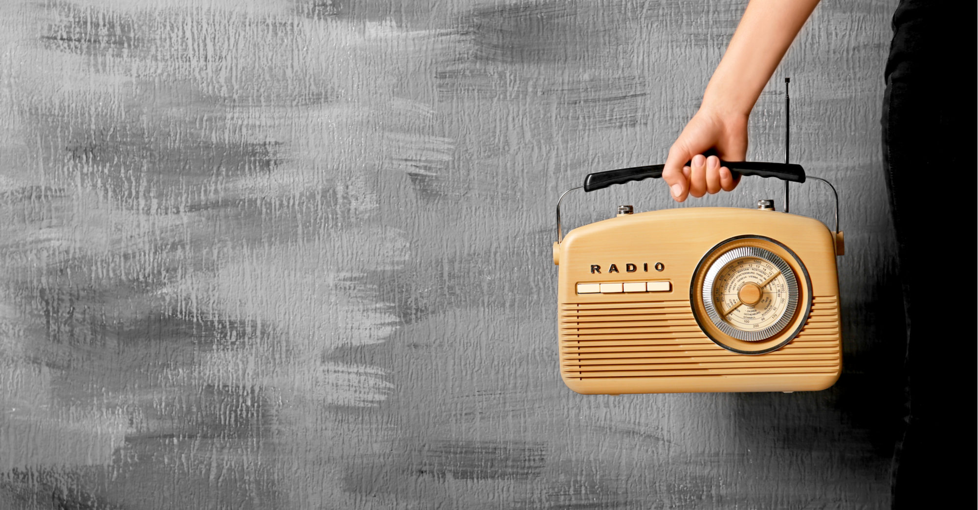 old fashioned radio woman arm